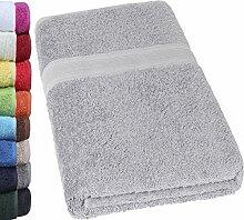 NatureMark SAUNATUCH Premium Qualität 80x200cm Sauna-Handtuch 100% Baumwolle Farbe: Silber Grau