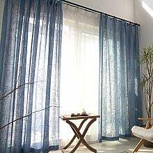 Naturer Blau Vorhang Transparent Kräuselband 2er