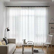 Naturer Gardinen Transparent Muster Weiß mit