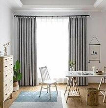 Naturer Gardinen Vorhänge Blickdicht Grau 2er Set