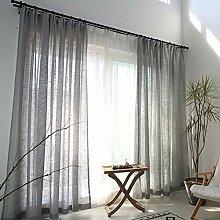 Naturer Grau Vorhang Transparent Kräuselband 2er