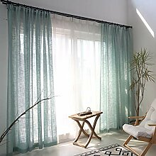 Naturer Grün 2er Set Vorhang Wohnzimmer