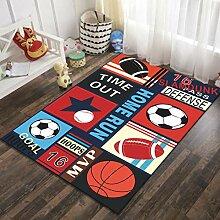 Naturer Kinderteppich Jungen Fußball Basketball
