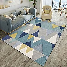 Naturer Teppich Geometrisches Muster Grau Blau