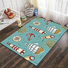 Naturer Teppich Kinderzimmer Junge Anker 80x120