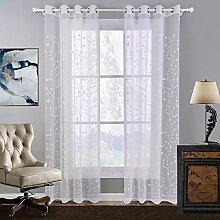 Naturer Vorhang Transparent 260x140 Weiß Klee