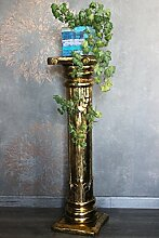 Naturesco Dekorative Blumensäule aus Holz Gold