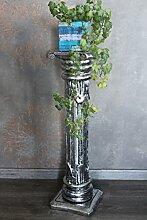 Naturesco Dekorative Blumensäule aus Holz Silber