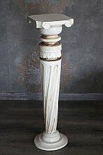 Naturesco Dekorative Blumensäule aus Holz weiß