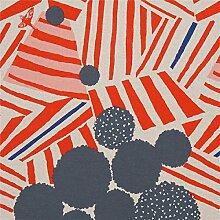 Naturfarbenes Wachstuch mit grauen Kreisen orange