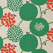 Naturfarbenes Wachstuch mit großen grünen