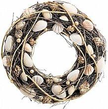 Naturkranz mit Muscheln und Perlen 24cm