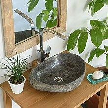 Naturstein Aufsatz-Waschbecken Waschschale mit Naturkante 30-40 cm Flußstein
