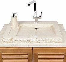 Naturstein Marmor Waschbecken Aufsatzbecken flach creme mit Armturenloch 70 cm