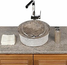 Naturstein Marmor Waschbecken Waschschale Aufsatzbecken Steinbecken 40 cm grau