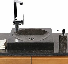 Naturstein Marmor Waschbecken Waschschale Gäste Bad Aufsatzbecken 45 cm schwarz