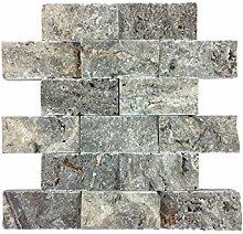 Naturstein-Mosaik aus Marmor als Wandstein/Steinwand/Verblendstein | Wandverkleidung für Bad, Küche, Diele oder Wohnzimmer aus echtem Stein | Ocean Silver 0114110 (silber)