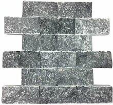 Naturstein-Mosaik aus Marmor als Wandstein/Steinwand/Verblendstein | Wandverkleidung für Bad, Küche, Diele oder Wohnzimmer aus echtem Stein | Ocean Blue 0114109 (blau)