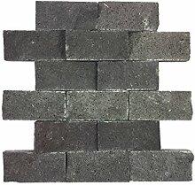 Naturstein-Mosaik aus Marmor als Wandstein/Steinwand/Verblendstein | Wandverkleidung für Bad, Küche, Diele oder Wohnzimmer aus echtem Stein | Ocean Black 0114108 (schwarz)