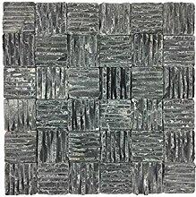 Naturstein-Mosaik aus Marmor als Wandstein/Steinwand/Verblendstein | Wandverkleidung für Bad, Küche, Diele oder Wohnzimmer aus echtem Stein (Delta Black)