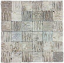 Naturstein-Mosaik aus Marmor als Wandstein/Steinwand/Verblendstein | Wandverkleidung für Bad, Küche, Diele oder Wohnzimmer aus echtem Stein | DELTA BEIGE | 29cm x 29cm x 1,5cm