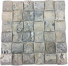 Naturstein-Mosaik aus Travertine als Wandstein/Steinwand/Verblendstein | Wandverkleidung für Bad, Küche, Diele oder Wohnzimmer aus echtem Stein | Trendy Aterina (29cm x 29cm x 1,5cm) (silber-grau)