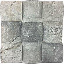 Naturstein-Mosaik/Mosaikfliese aus Marmor als Wandstein/Steinwand/Verblendstein | Wandverkleidung für Bad, Küche, Diele oder Wohnzimmer aus Naturstein I 9 lose Mosaiksteine ELEGANCE TUNDRA mit je 9,5cm x 9,5cm x 1,5cm (Silber-Grau)