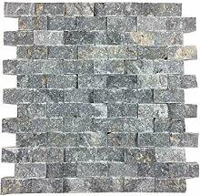 Naturstein-Mosaik/Mosaikfliese aus Naturstein als Wandstein/Steinwand/Verblendstein | Wandverkleidung für Bad, Küche, Diele oder Wohnzimmer aus echtem Stein | Rio Blue 011409 (blaugrau)