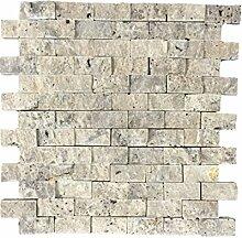 Naturstein-Mosaik/Mosaikfliese aus Naturstein als Wandstein/Steinwand/Verblendstein | Wandverkleidung für Bad, Küche, Diele oder Wohnzimmer aus echtem Stein | Rio Silver 011412 (silbergrau)