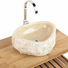 Naturstein Onyx Waschbecken Waschschale Aufsatzwaschbecken Unikat 40x40x15 cm