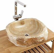 Naturstein Onyx Waschbecken Waschschale Aufsatzwaschbecken Unikat 56x60x15 cm