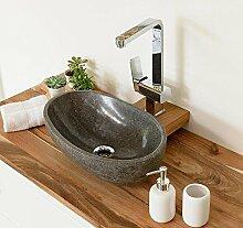 Naturstein Waschbecken 40 cm rund oval poliert Aufsatzwaschbecken für Gäste WC Bad ✓ Stein-Handwaschbecken für Waschplatz Stein Granit Findling Flussstein