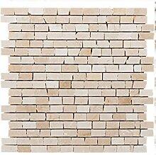 Natursteinmosaik Fliesen braun beige brick Wand