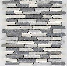 Natursteinmosaik Fliesen grau weißt brick Wand