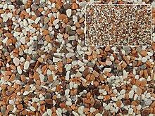 Natursteinteppich-Fliese Premium Line Dekor: Mix Palermo - flexible Bodenfliese für Innen und Außen aus italienischem Marmorkies, Teppichfliese, Marmorteppich, Terassenboden, Poolumrandung - 1m² Paket (4 Stück 50x50 cm)