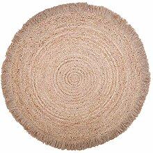 Naturtiot Teppich, rund, Terrakotta, geflochten,