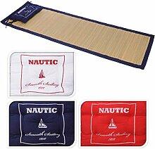 NAUTIC Faltbare Bast Strandmatte uni 190x60cm Kopfkissen Badematte Bastmatte Strand Matte blau rot weiß , Farbe:Weiß
