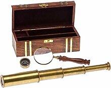 Nautikset Holzbox Fernrohr Lupe Kompass Maritim