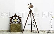 Nautisch Kupfer Antiquität Stativ Stock Lampe königlich Suchscheinwerfer Jahrgang LED Licht Hölzern Stand