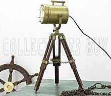 nautisch Messing Tabelle Lampe Jahrgang Antiquität Stativ Stock Licht königlich LED Niedrig Lampe