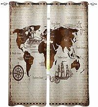 Nautische Weltkarte Fenster Vorhänge für