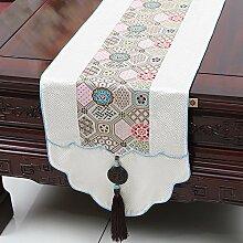 NAUY- Chinesische Jade-Garten-Hirten-Markierungsfahne Mittelmeer-Tabellen-Kaffeetisch-Markierungsfahnen-Bett-Markierungsfahnen-Tee-Tabellen-Flaggen-Kabinett-Flagge ( Farbe : #1 , größe : 33*180cm )