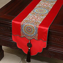NAUY- Chinesische Jade-Garten-Hirten-Markierungsfahne Mittelmeer-Tabellen-Kaffeetisch-Markierungsfahnen-Bett-Markierungsfahnen-Tee-Tabellen-Flaggen-Kabinett-Flagge ( Farbe : #3 , größe : 33*230cm )