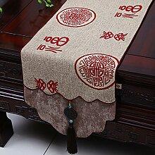 NAUY- Chinesische Jade-Garten-Hirten-Markierungsfahne Mittelmeer-Tabellen-Kaffeetisch-Markierungsfahnen-Bett-Markierungsfahnen-Tee-Tabellen-Flaggen-Kabinett-Flagge ( Farbe : #3 , größe : 33*200CM )