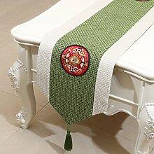 NAUY- Klassische chinesische siamesische Stickerei-Tabellen-Markierungsfahnen-Art und Weise Einfache moderne Garten-Bett-Markierungsfahnen-Kabinett-Flagge ( Farbe : #5 , größe : 33*300cm )