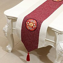NAUY- Klassische chinesische siamesische Stickerei-Tabellen-Markierungsfahnen-Art und Weise Einfache moderne Garten-Bett-Markierungsfahnen-Kabinett-Flagge ( Farbe : #2 , größe : 33*150cm )