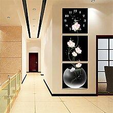 NAUY- Malerei Uhren und Uhren Korridor Triple Hanging Vertical Frameless Wandmalereien Gemalt Eingang Dekoration Gemälde Moderne minimalistische Kunst Silent Wanduhren ( Farbe : Crystal film , größe : 40*40cm )