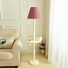 NAUY- Massivholz Couchtisch Stehlampe Continental American Modern Minimalist Vintage Ivory White Schreibtischlampe mit Fach Lagerung vertikale Lampe ( Farbe : Rose red )