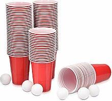 Navaris Beer Pong Becher Set mit Bällen - 100