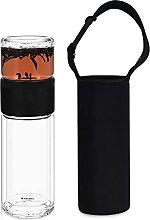 Navaris Teeflasche aus Glas mit Edelstahl Sieb -